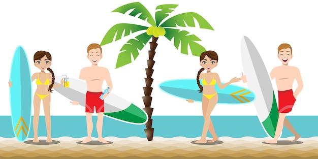 Homem bonito e moça bonita tem atividades esportivas na praia