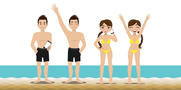 Homem bonito e moça bonita têm atividades na praia