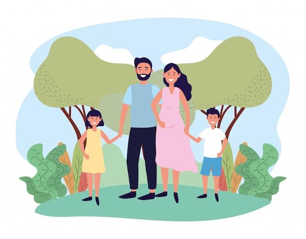 Homem bonito e mulher casal com seus filhos