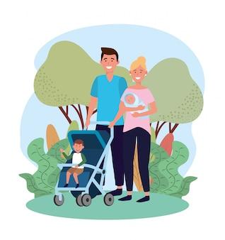 Homem bonito e mulher com seu filho no carrinho