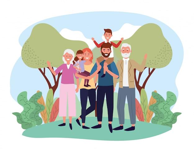 Homem bonito e mulher com seus filhos e pais