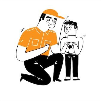 Homem bonito gentil ajudando ou brincando com um menino segurando uma bola de futebol, ilustração vetorial desenhada à mão