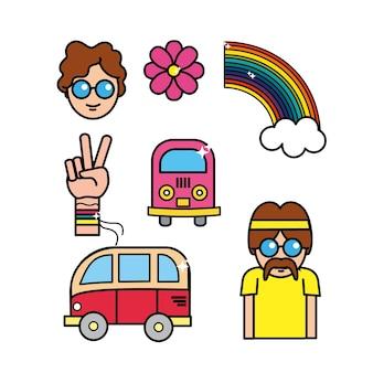 Homem bonito hippie com ferramentas importantes