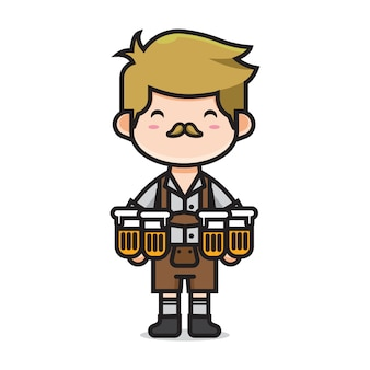 Homem bonito no dia internacional da cerveja