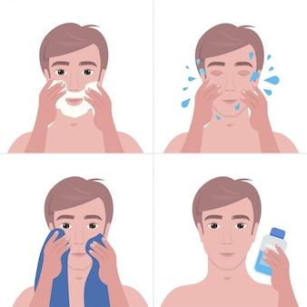 Homem bonito passos barbear com espuma e limpeza conceito de cuidados da pele do rosto