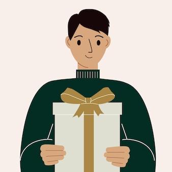 Homem bonito segurando uma caixa de presente com um laço. ilustração em vetor plana