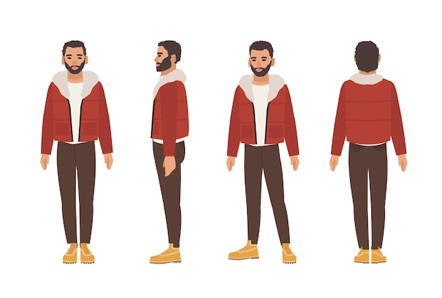 Homem bonito sorridente de cabelos escuros e barba, vestido com calças marrons e jaqueta vermelha