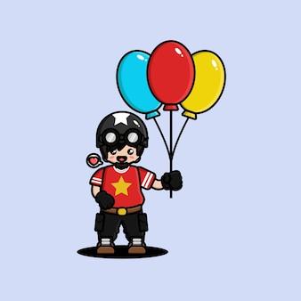 Homem bonito tanque segurando um balão