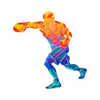 Homem boxeador em aquarela conceito