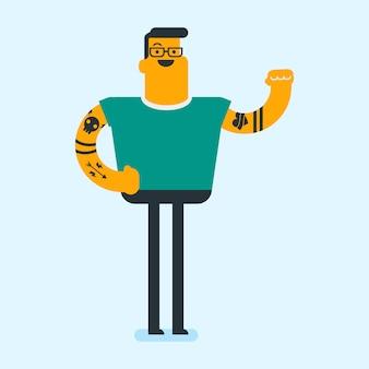Homem branco caucasiano com tatuagem mostrando o bíceps.