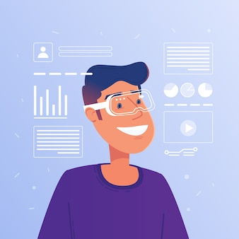 Homem branco caucasiano feliz nos vidros aumentados da realidade que operam a interface virtual do hud.