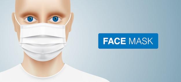 Homem branco com olhos azuis, vestindo uma máscara cirúrgica descartável. indivíduo do sexo masculino caucasiano com máscara médica branca protetora de vírus corona. fundo de proteção de doenças com espaço de cópia.