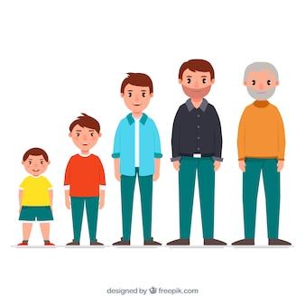 Homem branco em diferentes idades com design plano