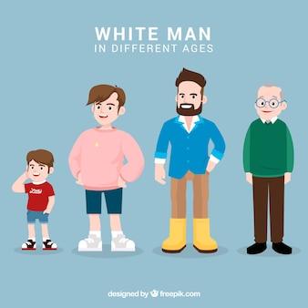 Homem branco em diferentes idades