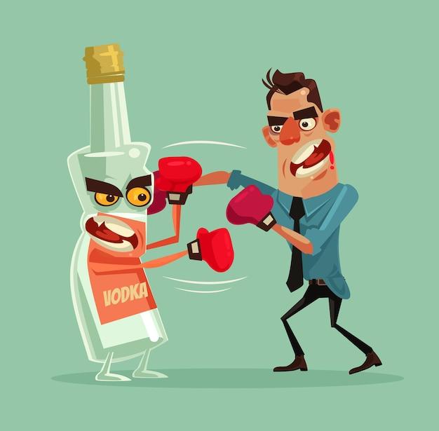 Homem bravo luta com personagens de garrafa de álcool e tenta parar de beber vodca.