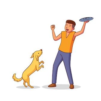 Homem brincando com seu cachorro
