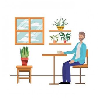 Homem, café bebendo, em, a, sala de estar