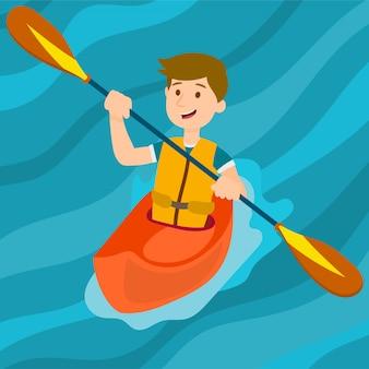 Homem caiaque. esporte aquático
