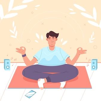 Homem calmo com as pernas cruzadas em posição de lótus fazendo ioga, meditação, mindfulness, prática espiritual di ...
