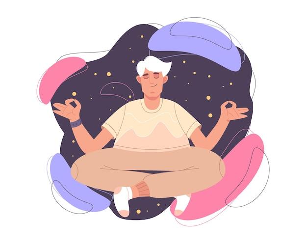 Homem calmo e plano com os olhos fechados e as pernas cruzadas, meditando na postura de lótus de ioga. pessoa feliz fazendo exercícios de meditação, prática de atenção plena, disciplina espiritual. conceito de zen, harmonia ou saúde.
