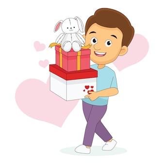 Homem caminhando e segurando uma grande caixa de presente