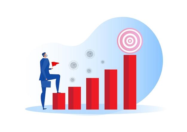 Homem caminhando no gráfico de barras para crescimento da economia, meta, recuperação econômica da crise do coronavírus covid-19, conceito pós-pandêmico.