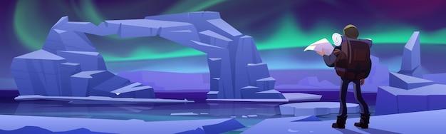 Homem caminhante em geleira no ártico