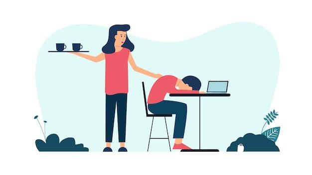 Homem cansado e dorme no café com uma mulher acorde-o ilustração vetorial
