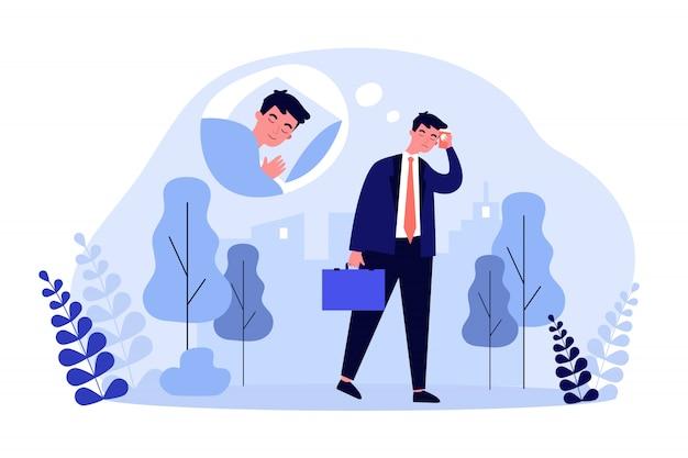 Homem cansado escritório sonolento, caminhando para o trabalho