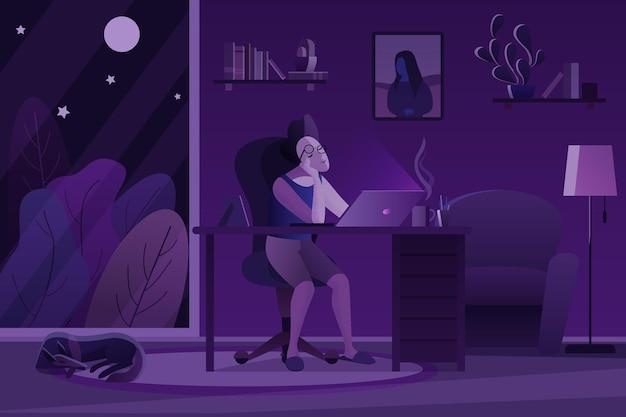 Homem cansado fazendo trabalho freelance em um quarto escuro à noite