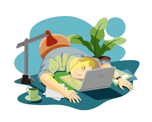Homem cansado ou estressado com o conceito de excesso de trabalho