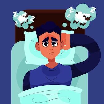Homem cansado tentando dormir
