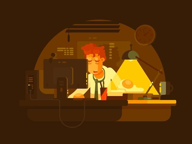 Homem cansado, trabalhando no computador tarde da noite. ilustração vetorial