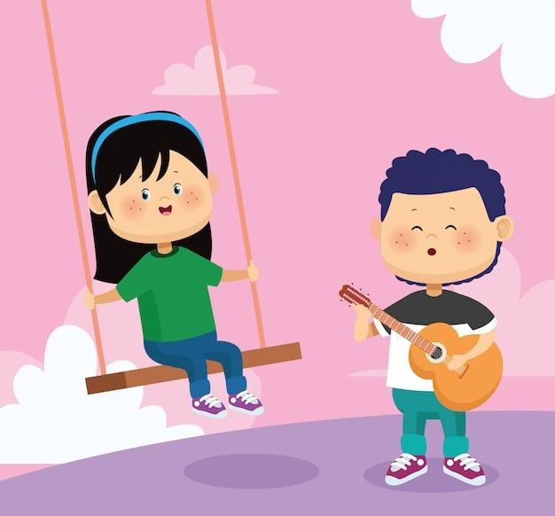 Homem cantando e tocando violão para uma garota em um balanço