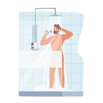 Homem cantando no chuveiro, nu e feliz personagem masculino tomando banho