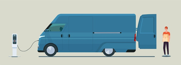 Homem carrega caixas em uma ilustração de estilo simples de van de carga elétrica