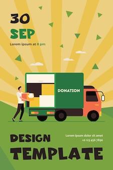 Homem carregando caixa com roupas para caminhão de doação. correio, voluntário, modelo de folheto plano de veículo
