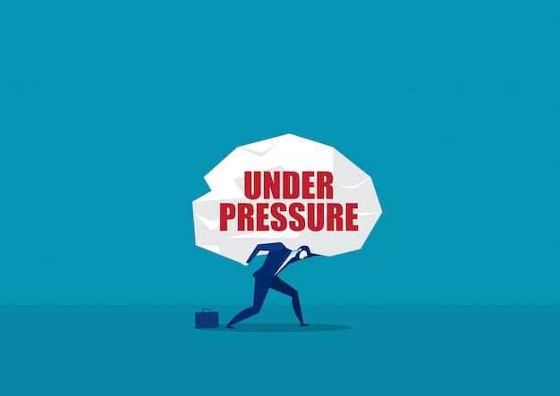 Homem carregando grande pesado sob pressão palavra vector. conceito de vetor