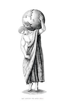 Homem carregando o mundo. arte romana do período desenhado à mão em estilo vintage de gravura