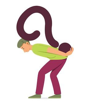 Homem carregando o símbolo do grande ponto de interrogação nas costas com sensação de confusão