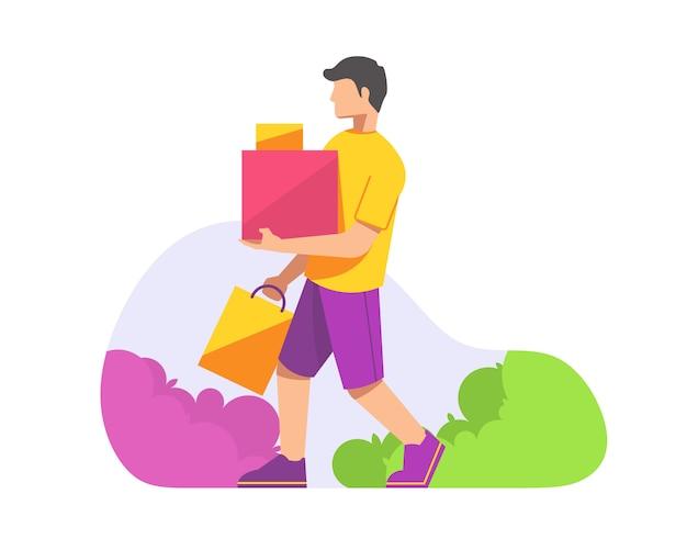 Homem carregando sacolas de compras