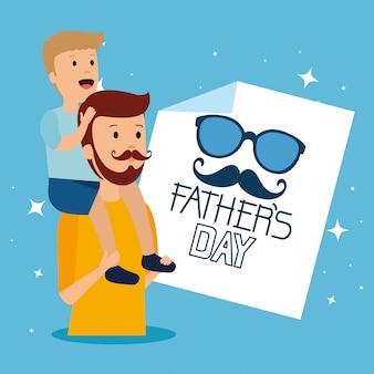 Homem carregando seu filho nos ombros para o dia dos pais