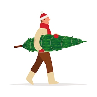 Homem carregando uma árvore de natal