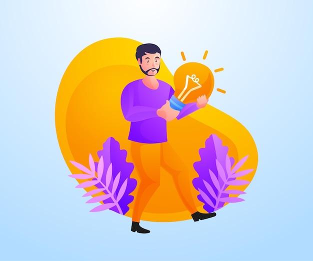 Homem carregando uma lâmpada, conceito de solução de problemas
