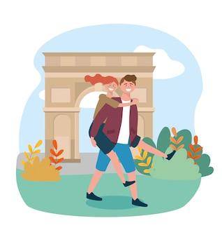 Homem carregando uma mulher nas costas no destino do triomphe de arco