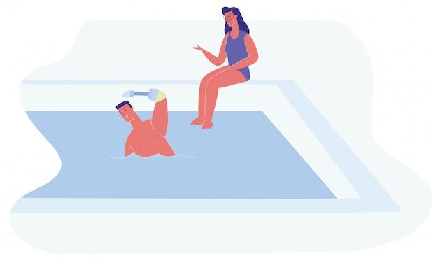 Homem cartoon mão protética swimm mulher sente piscina