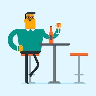 Homem caucasiano bebendo vinho no restaurante.
