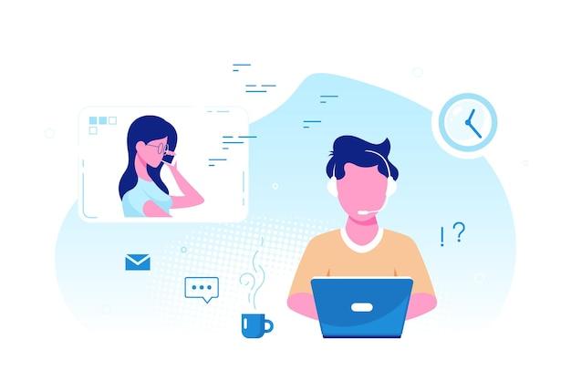 Homem caucasiano com laptop e fones de ouvido com microfone. suporte técnico, atendimento, call center e conceito de atendimento ao cliente. ilustração em vetor estilo simples