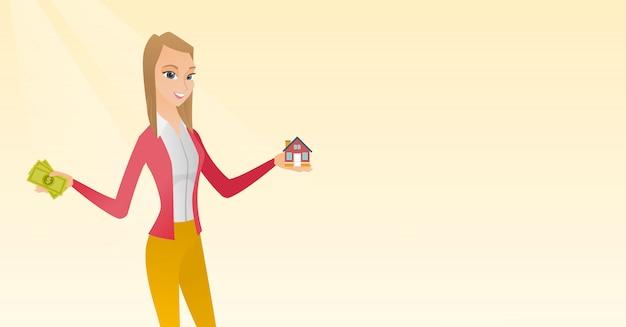 Homem caucasiano, comprar casa graças ao empréstimo.
