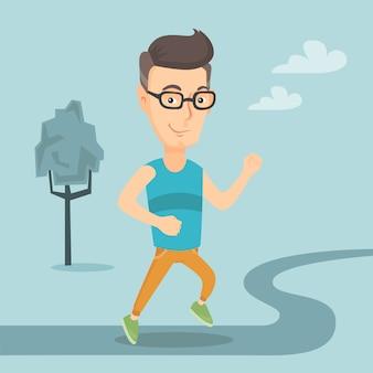 Homem caucasiano correndo ilustração vetorial.